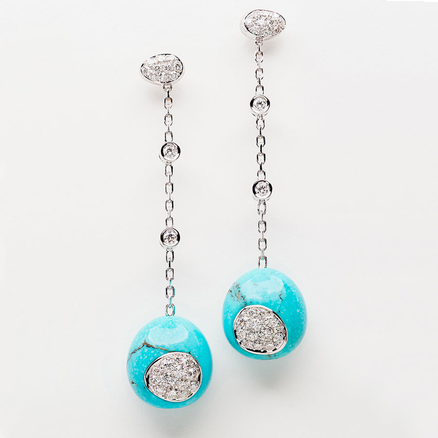 Galet Collection Turquoise & Diamond Earrings - GERARDRIVERON