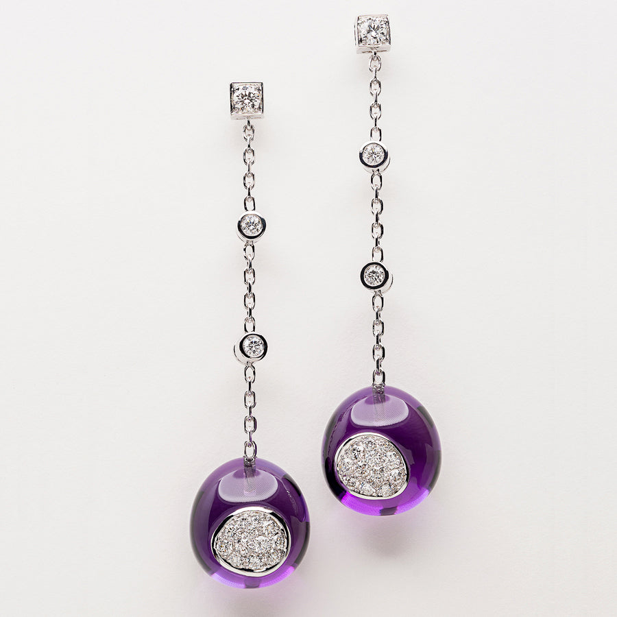 Galet Collection White Gold, Amethyst & Diamond Earrings - GERARDRIVERON
