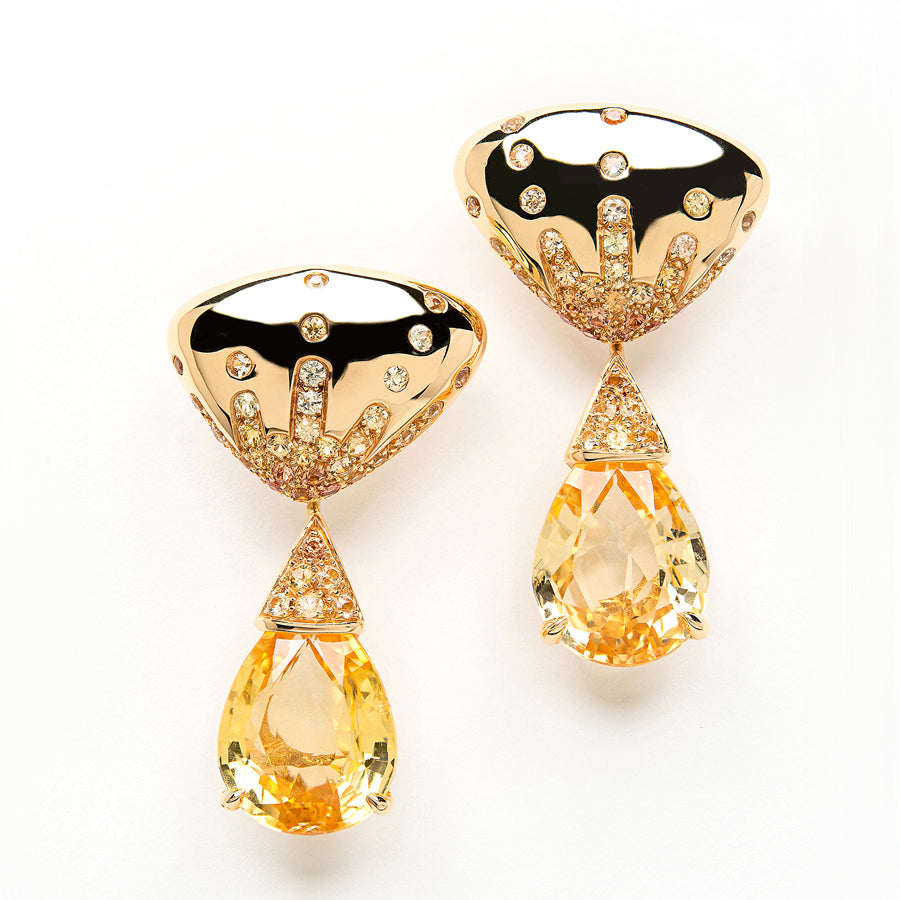 Dragée Earrings Intense Yellow Sapphires - GERARDRIVERON