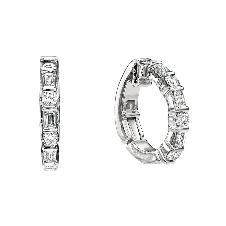 #ALACARTEBRIDAL GK PLATINUM AND DIAMOND HUGGY EARRINGS - GERARDRIVERON