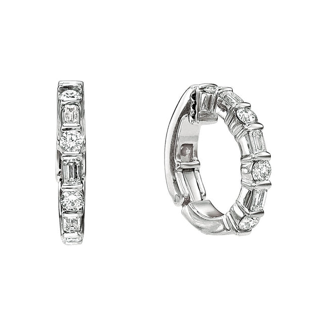 #ALACARTEBRIDAL GK PLATINUM AND DIAMOND HUGGY EARRINGS