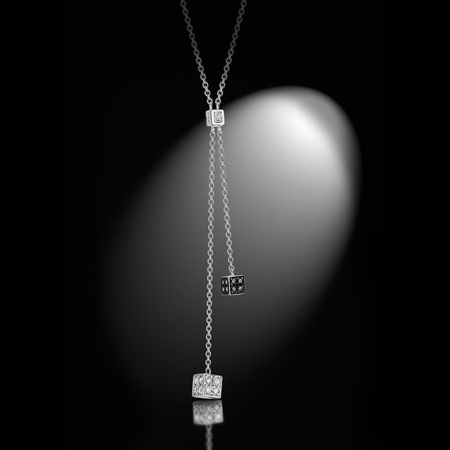 Women's Collection Pendent Necklace 'Cube', White Gold