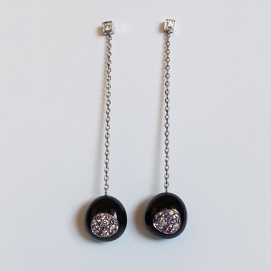 White Gold, Onyx, Diamond and Sapphire Earrings from the Galet Collection