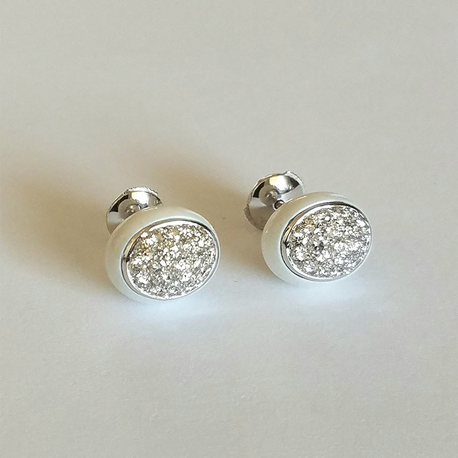 Galet Collection Cacholong & Diamond Ear Studs #ALACARTEBRIDAL - GERARDRIVERON