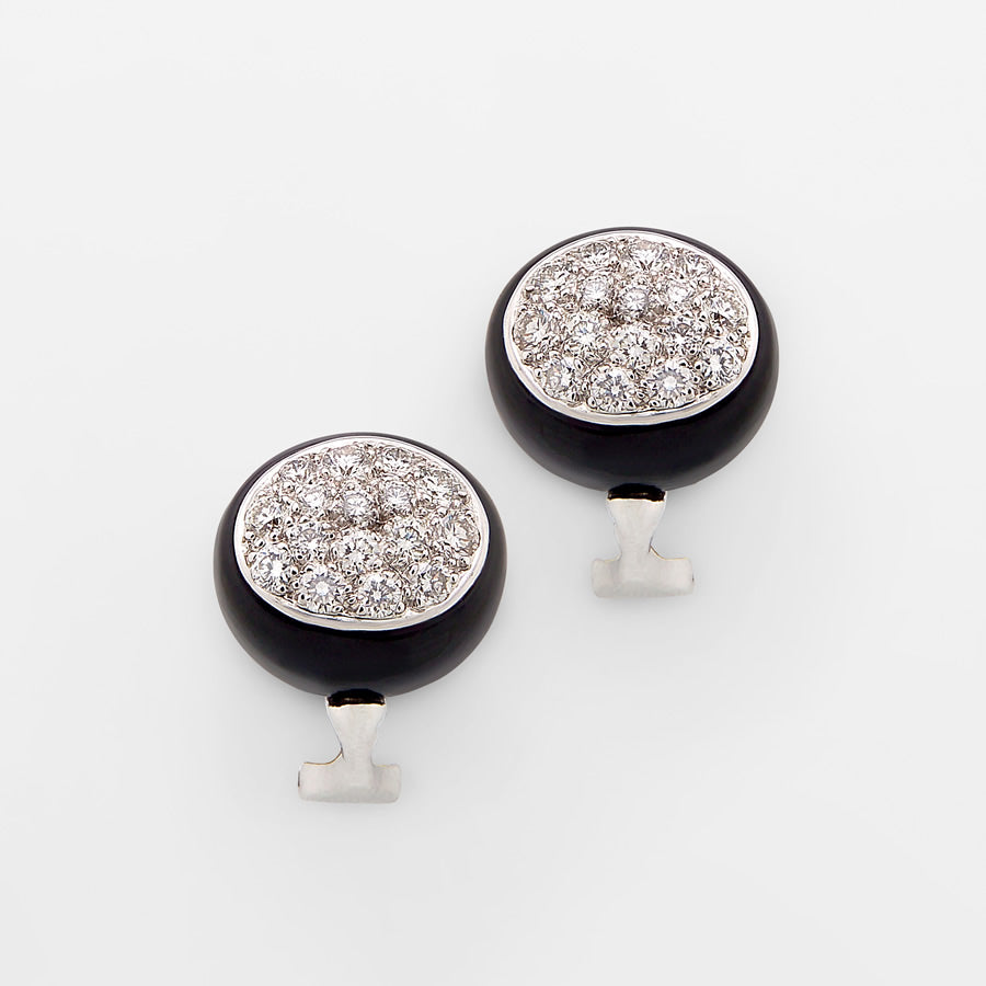Galet Collection Obsidian & Diamond Earrings