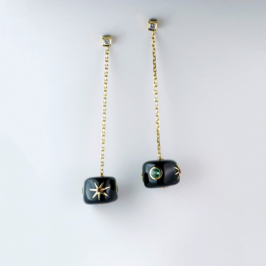 "White Gold, Ebony, Blue and Green Tourmaline and Diamond Earrings ""Galaxy'"