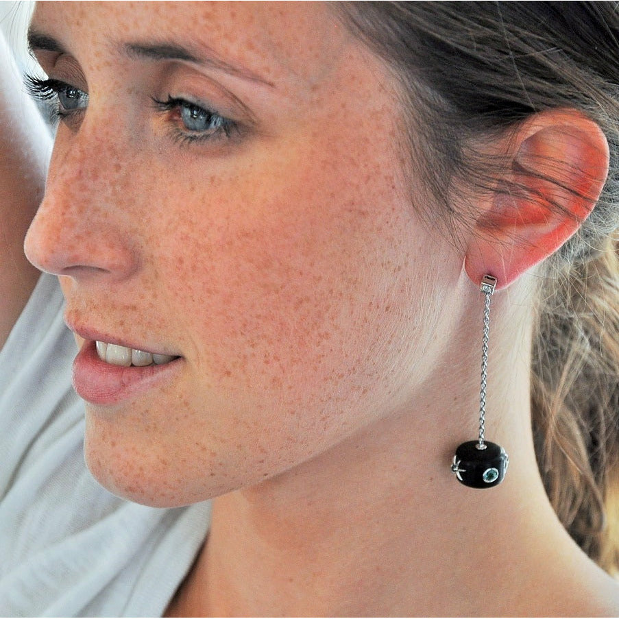 Galaxy Collection Ebony, Blue & Green Tourmaline, and Diamond Earrings