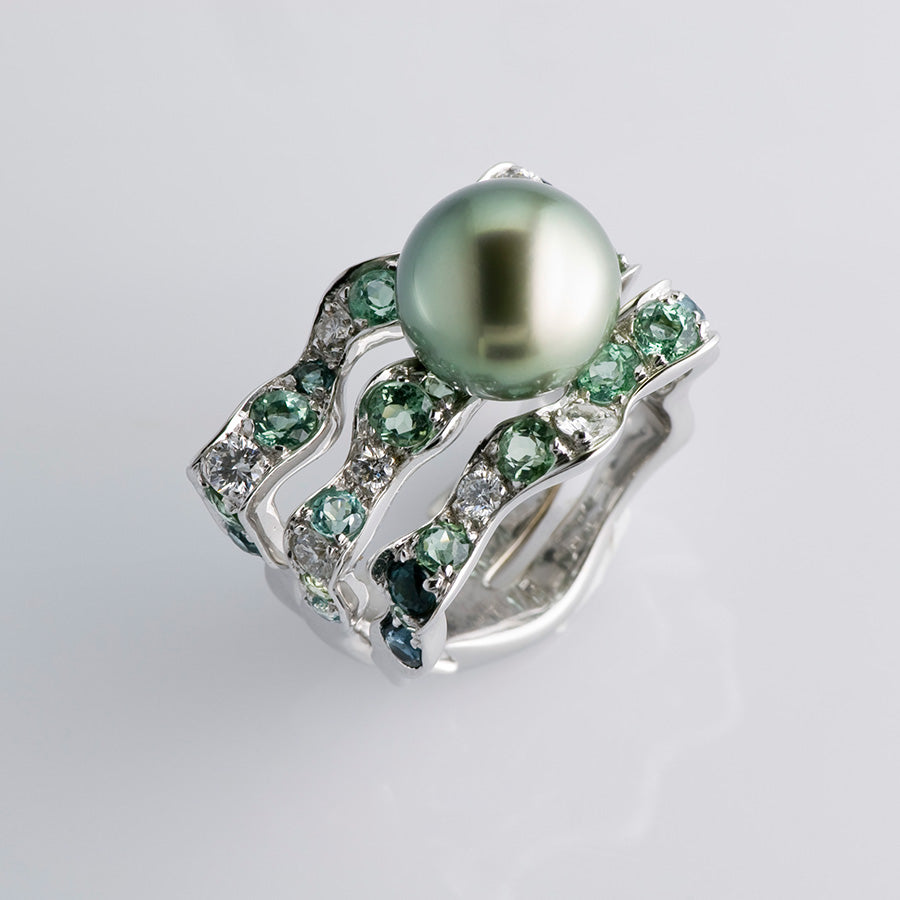 Natural History Collection Tahitian Pearl & Green Tourmaline Ring Algue
