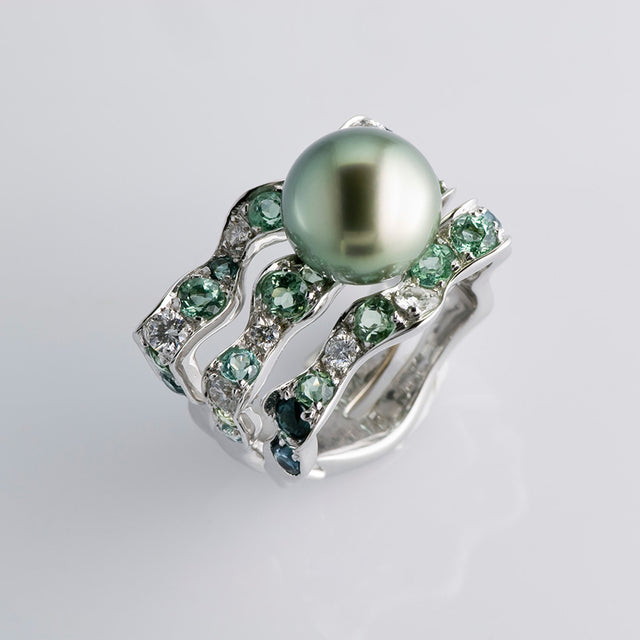 Natural History Collection Tahitian Pearl & Green Tourmaline Ring Algue - GERARDRIVERON