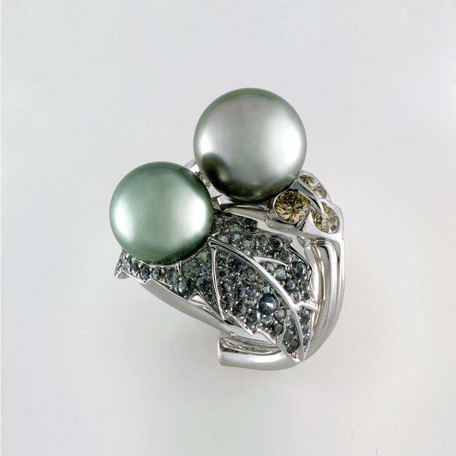 Natural History Collection Tahiti Pearl & Brown Diamond Ring Two Pearls - GERARDRIVERON