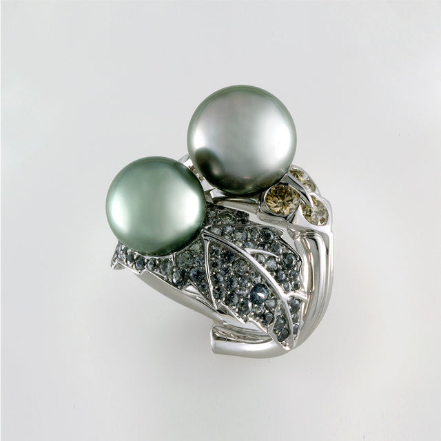 Natural History Collection Tahiti Pearl & Brown Diamond Ring Two Pearls