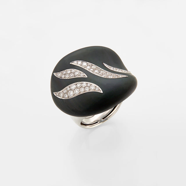 Natural History Collection Obsidian & Diamond Ring Gem - GERARDRIVERON