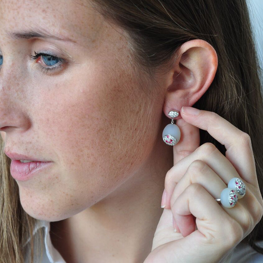Galet Collection White Agate, Diamond & Pink Spinel Earrings - GERARDRIVERON