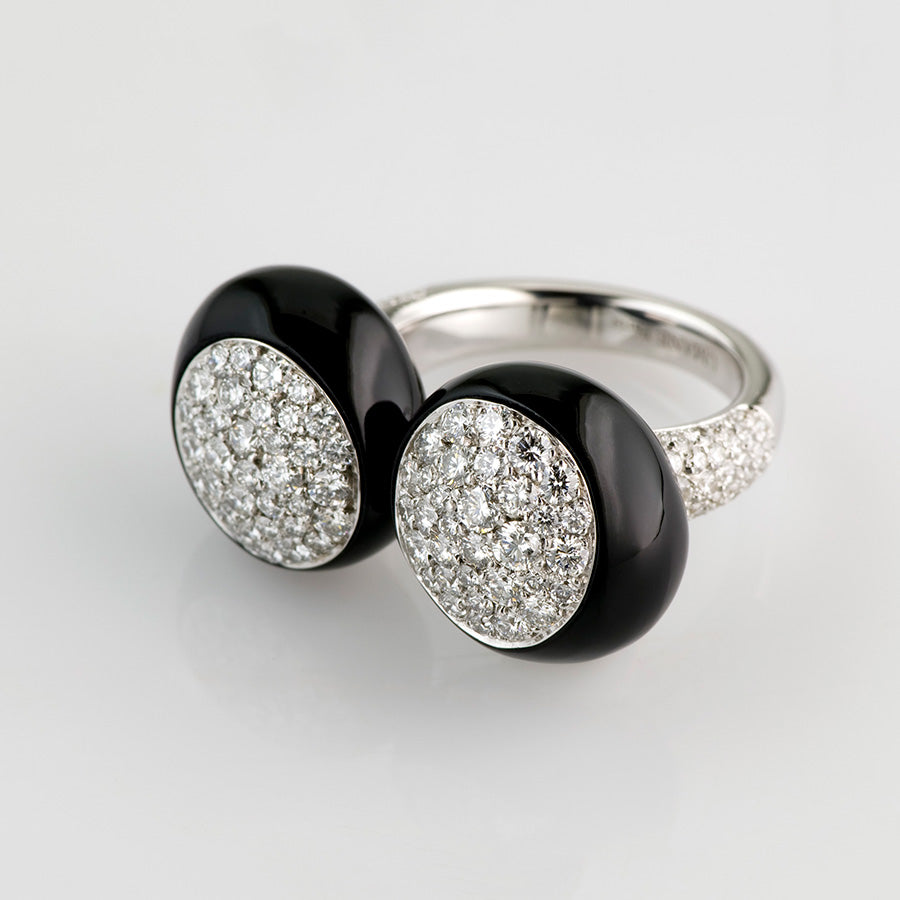 XL Galet Collection Onyx & Diamond Ring - GERARDRIVERON