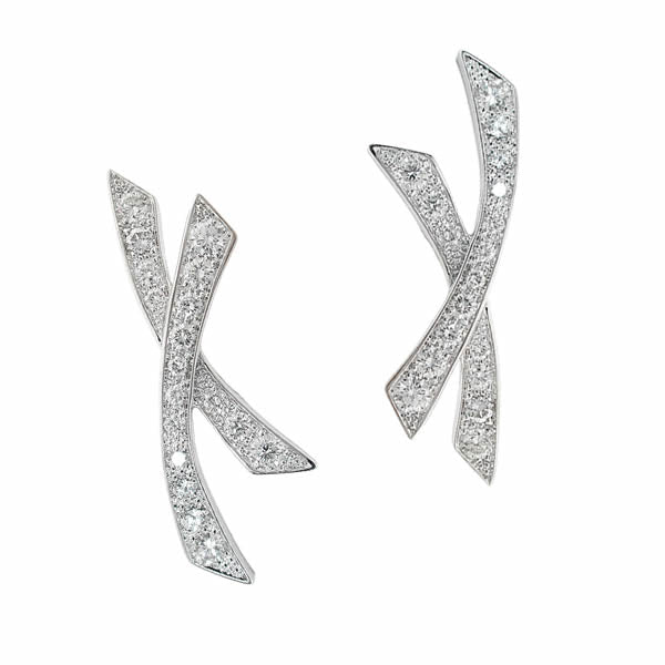 ÉCUME EARRINGS WHITE GOLD AND DIAMONDS, WONDERS OF THE SEA COLLECTION