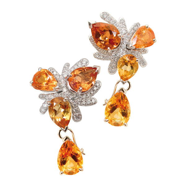 CORAIL EARRINGS GARNET CITRINE DIAMONDS, MERVEILLES DE LA MER COLLECTION