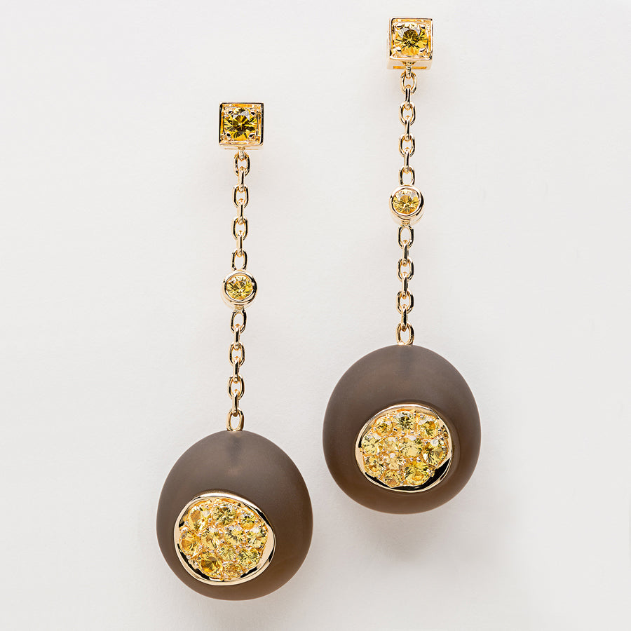 Galet Collection Smoky Quartz & Yellow Sapphire Earrings - GERARDRIVERON