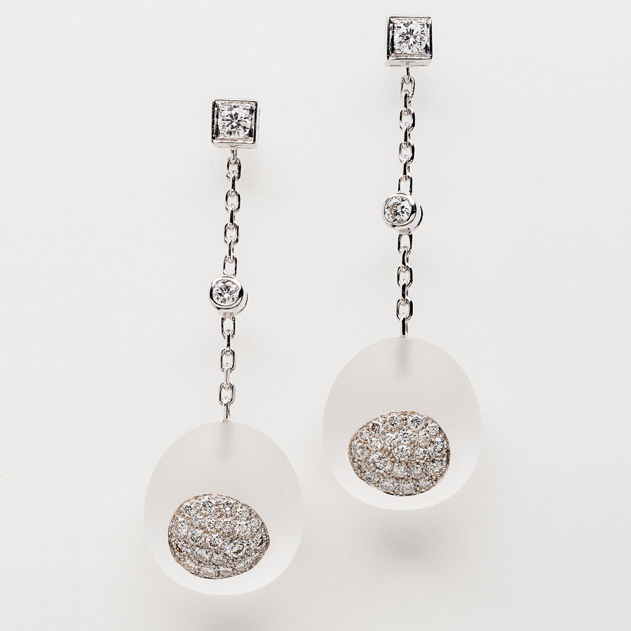 Galet Collection Rock Crystal & Diamond Earrings #ALACARTEBRIDAL - GERARDRIVERON