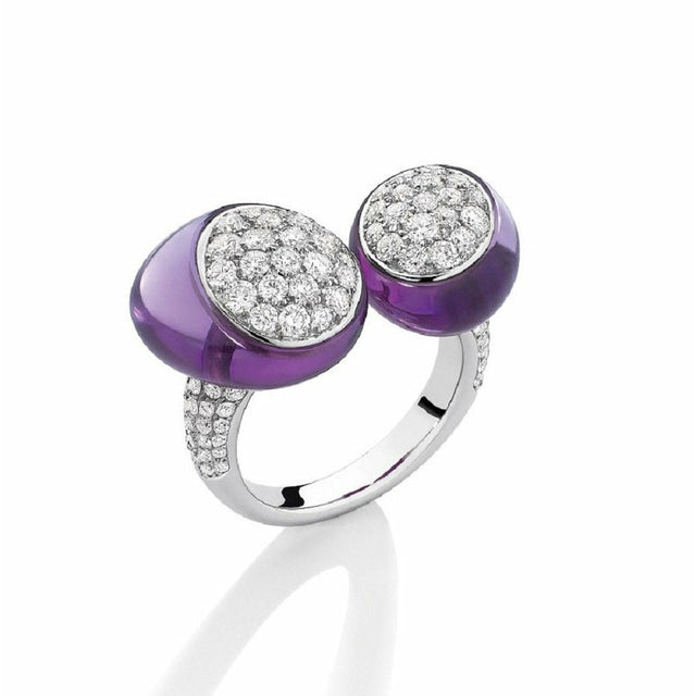 GMPM Galet Collection White Gold, Amethyst & Diamond Ring