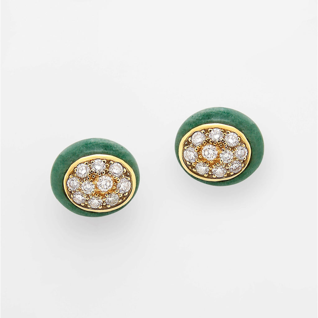 Mini Galet Collection Green Aventurine & Diamond Earrings - GERARDRIVERON