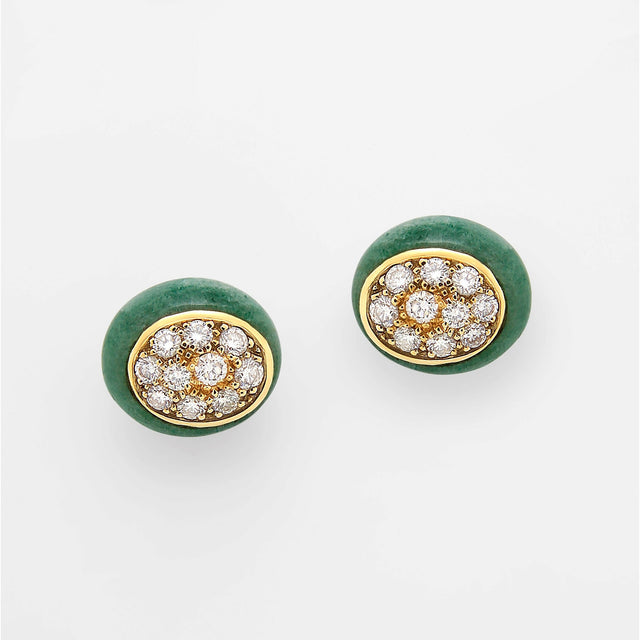 Mini Galet Collection Green Aventurine & Diamond Earrings