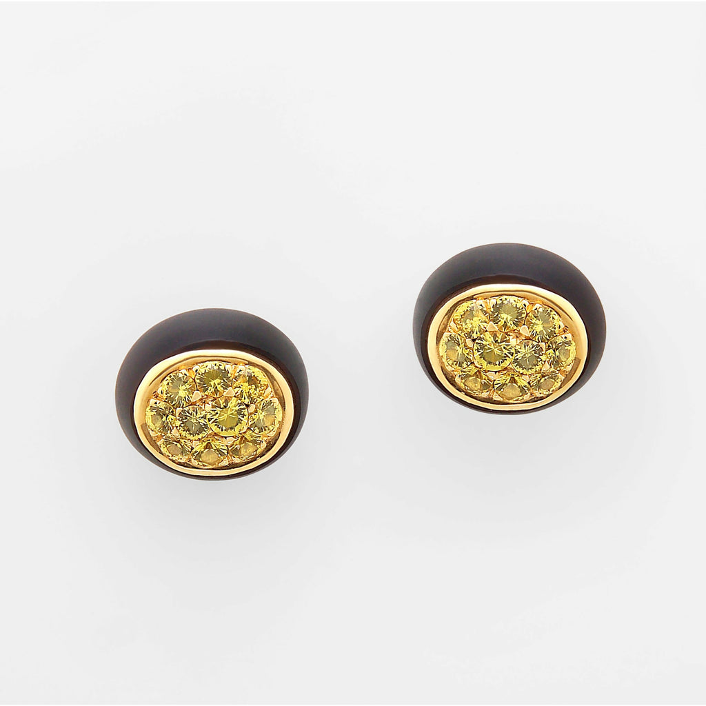 Mini Galet Collection Smoky Quartz & Yellow Sapphire Earrings - GERARDRIVERON