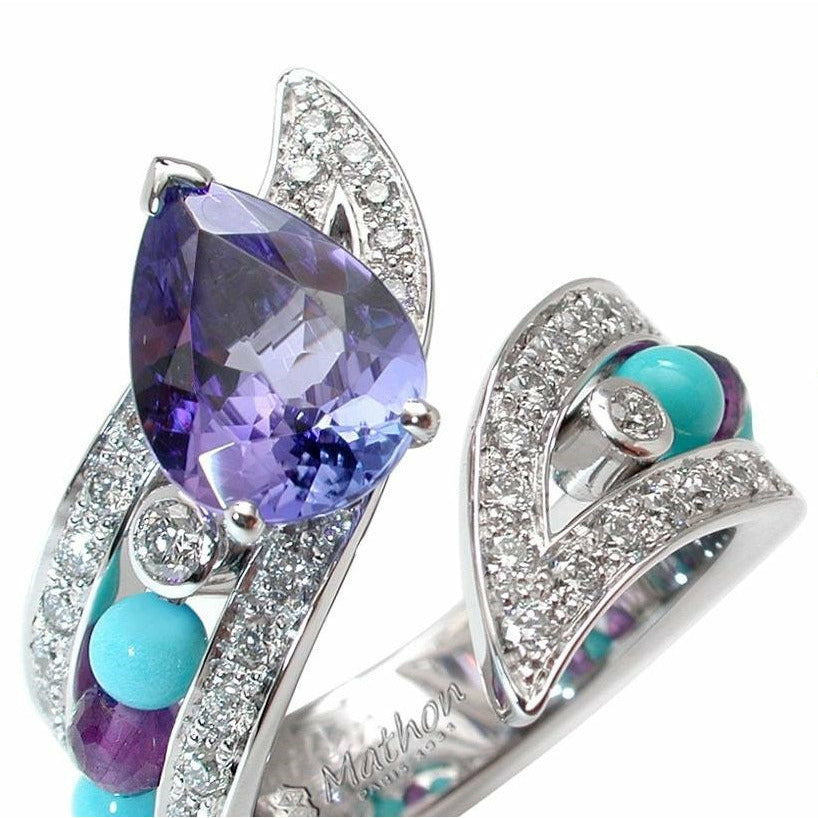 IBIS RING WHITE GOLD DIAMOND TANZANITE TURQUOISE TOPAZ AND AMETHYST, LUCKY ANIMALS COLLECTION