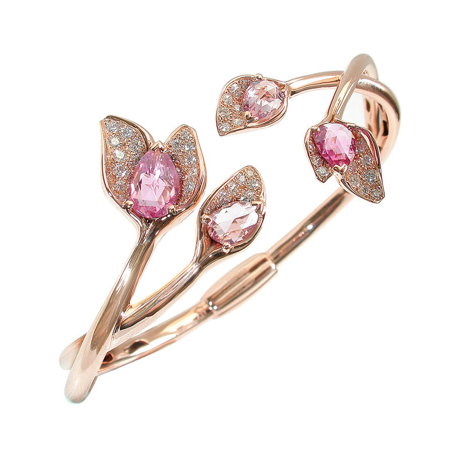 GLYCINE BRACELET RED GOLD DIAMOND AND PINK ROSE-CUT SAPPHIRE, FLORILÈGE COLLECTION - GERARDRIVERON