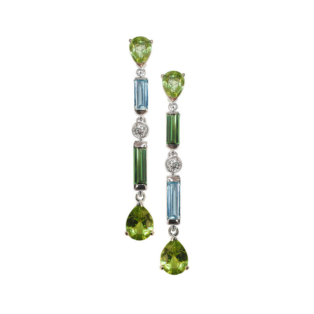 Manhattan GM White Gold, Diamond, Green Tourmaline, Peridot and Aquamarine Baguette Earrings