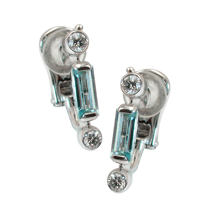 MANHATTAN SIMPLE EARRINGS AQUAMARINE, MANHATTAN COLLECTION - GERARDRIVERON