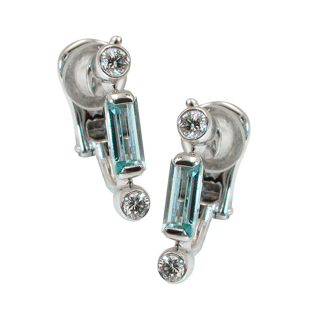 Manhattan Simple White Gold, Diamond And Aquamarine Baguette Earrings