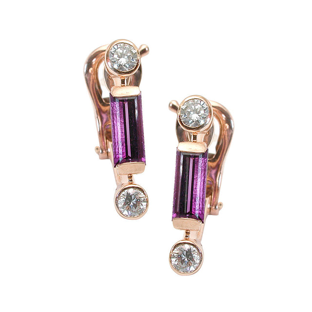 Manhattan Simple Red Gold, Diamond and Amethyst Baguette Earrings