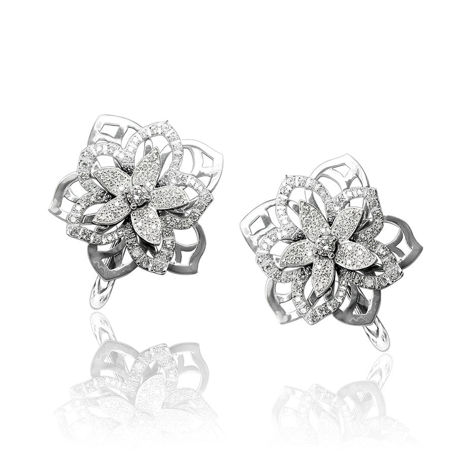 JASMIN EARRINGS WHITE GOLD AND DIAMOND, ANTHOLOGY FLORILÈGE COLLECTION #ALACARTEBRIDAL - GERARDRIVERON