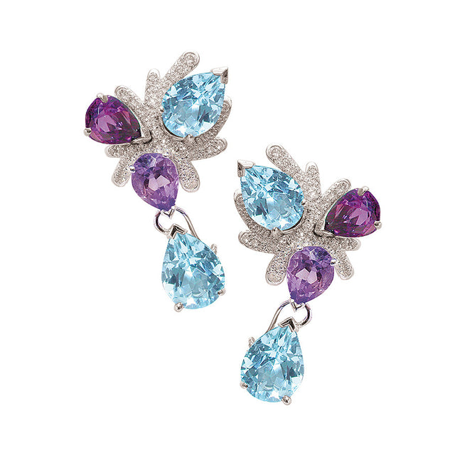Corail White Gold, Diamond, Pearshape Amethyst and Aquamarine Earrings