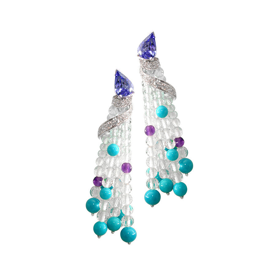 Ibis White Gold, Diamond, Turquoise, Amethyst, White and Blue Topaz Bead, and Pear-shape Tanzanite Earrings