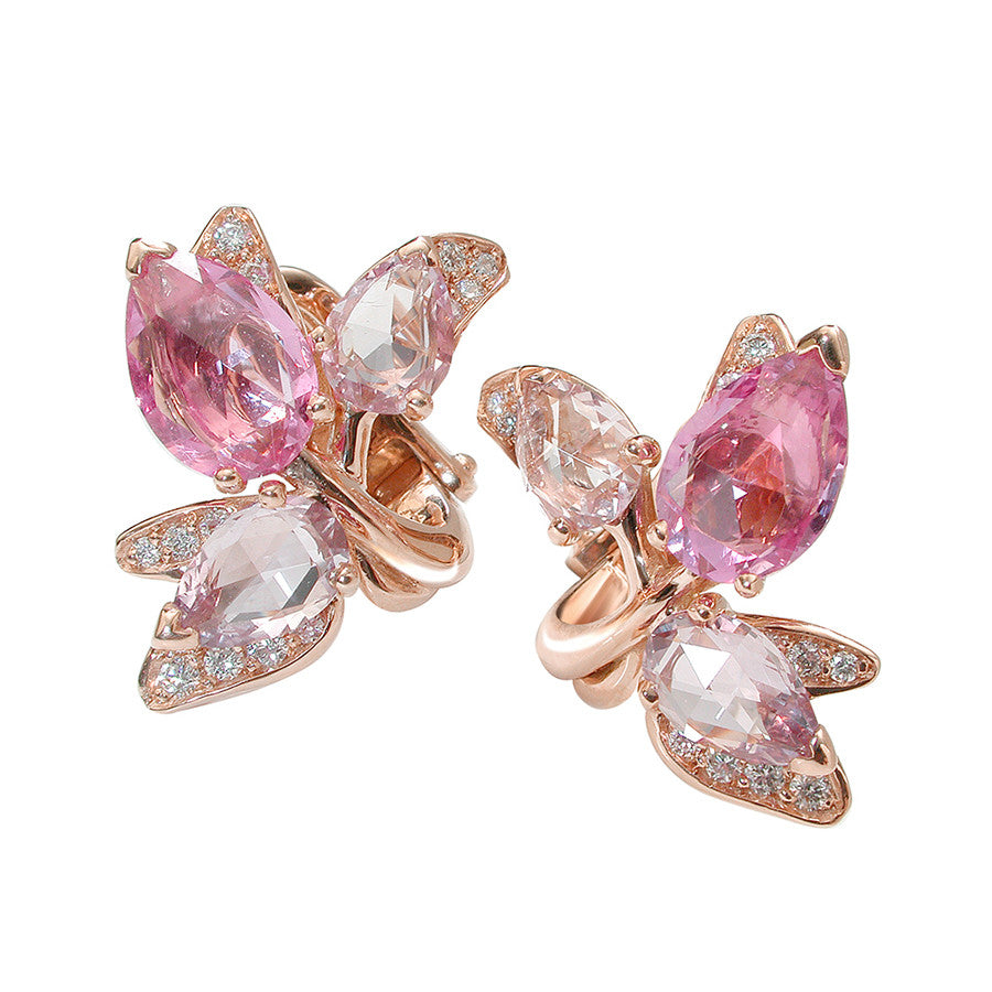 Glycine Red Gold, Diamond, and Pink Rosecut Sapphire Earrings