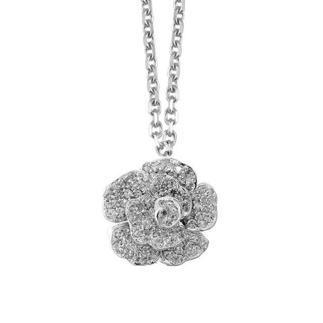 White Gold and Pave Diamond Rose Pendant and Necklace