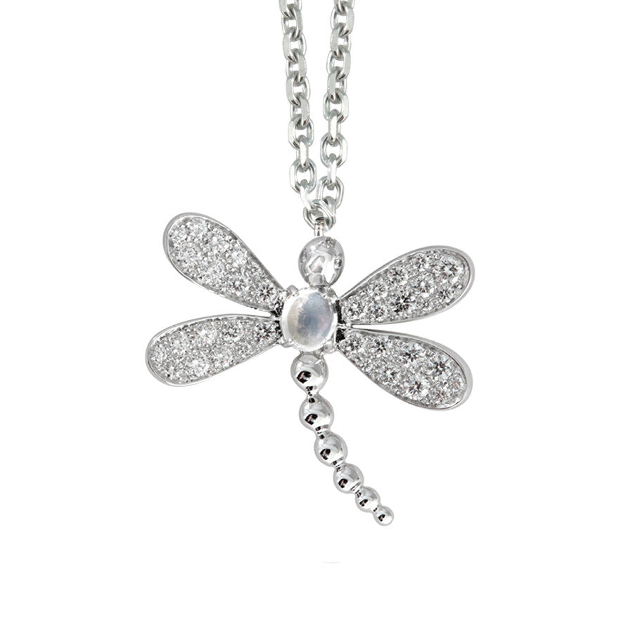 LIBELLULE NECKLACE WHITE GOLD, DIAMOND AND MOONSTONE, BESTIOLES COLLECTION #ALACARTEBRIDAL - GERARDRIVERON