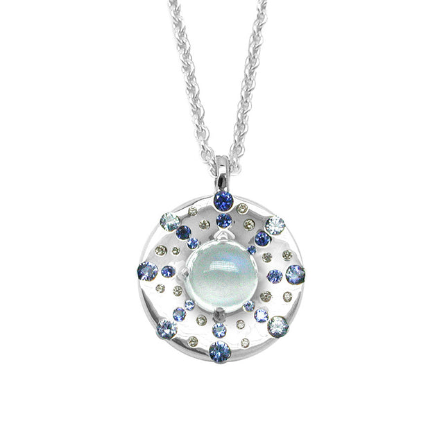Odyssee PM White Gold, Diamond, Sapphire and Moonstone Cabochon Necklace