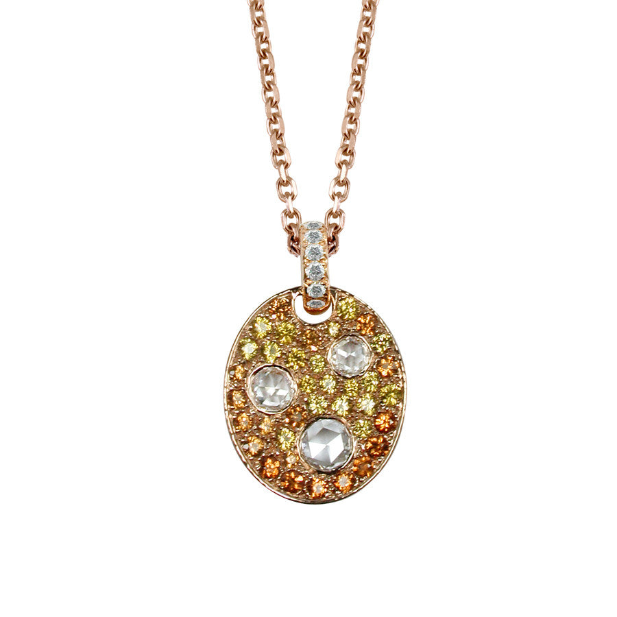 PALETTE NECKLACE SPESSARTITE GARNET YELLOW SAPPHIRE DIAMOND, LES INTEMPORELLES COLLECTION - GERARDRIVERON