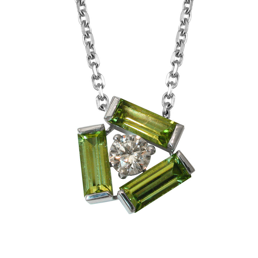 Tribeca White Gold, Diamond and Peridot Baguette Necklace