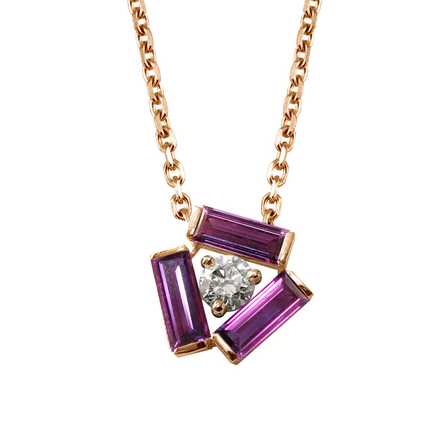Tribeca Red Gold, Diamond and Amethyst Baguette Necklace