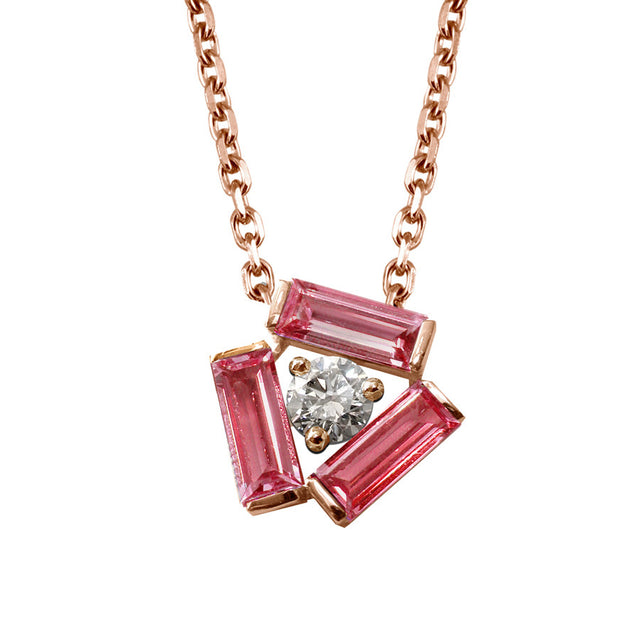 Tribeca Red Gold, Diamond and Pink Tourmaline Baguette Necklace