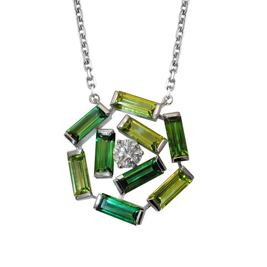 Broadway White Gold, Diamond, Green Tourmaline and Peridot Baguette Necklace