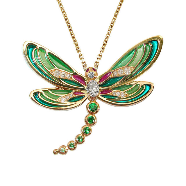 Demoiselle Yellow Gold, Diamond, Tsavorite and Garnet Necklace Plique a Jour