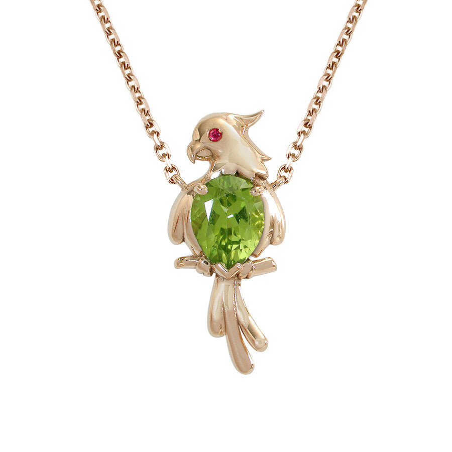 Perroquet Yellow Gold, Ruby and Peridot Necklace