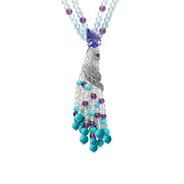Ibis White Gold, Diamond, Turquoise, Amethyst, White and Blue Topaz Beads, and Pear-shape Tanzanite Necklace