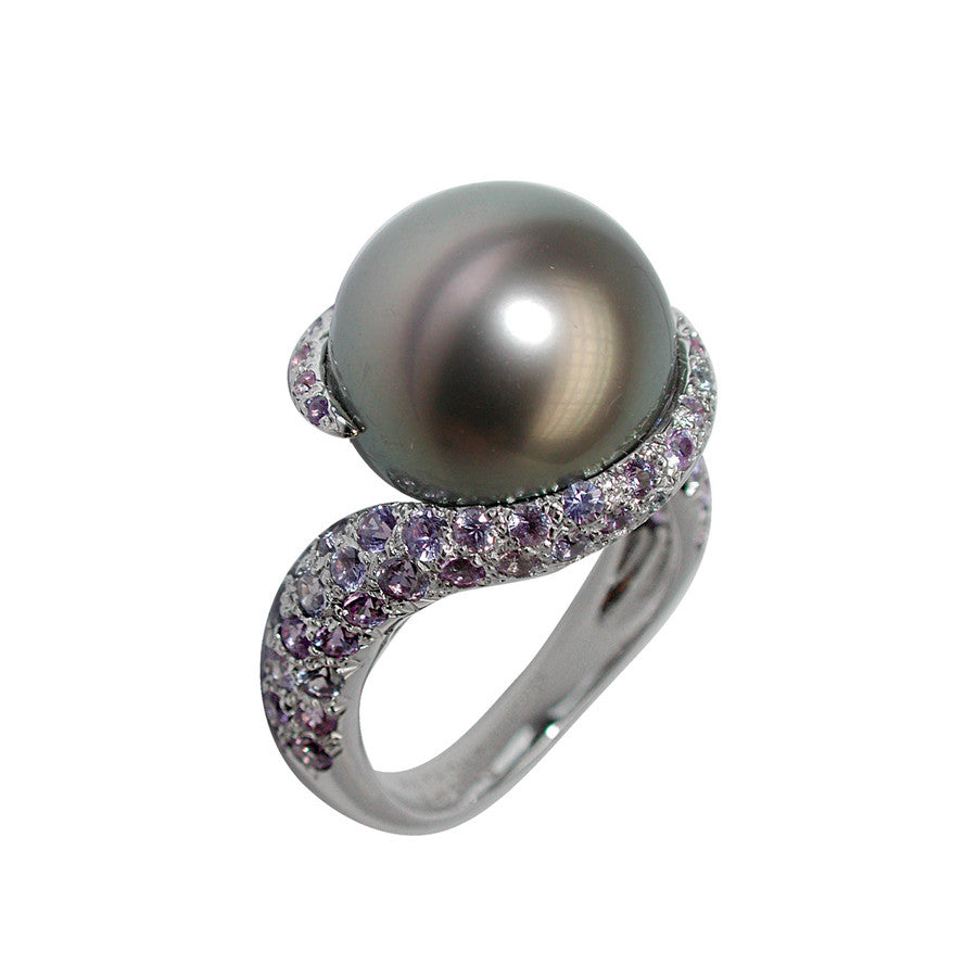 COMÈTE RING WHITE GOLD PURPLE SAPPHIRE AND TAHITI PEARL, LES INTEMPORELLES COLLECTION - GERARDRIVERON