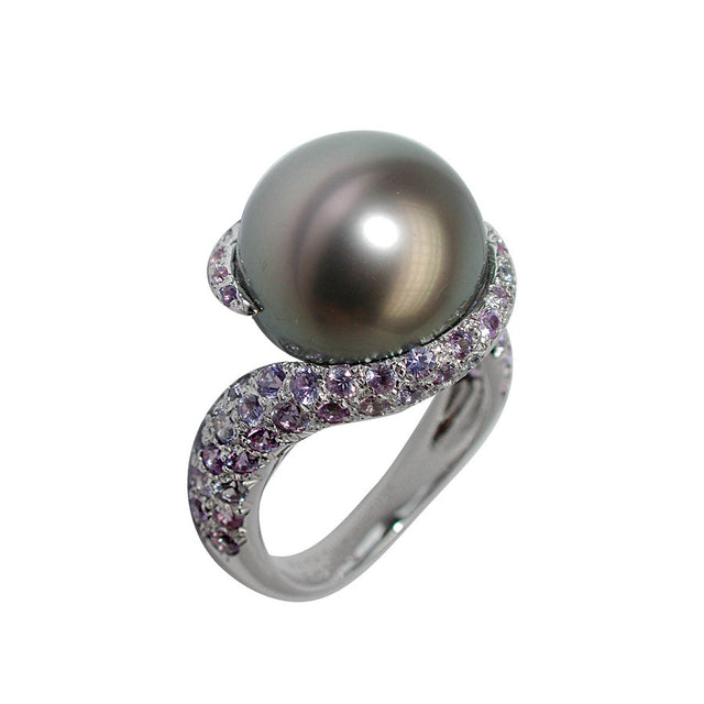Comete White Gold, Purple Sapphire and Tahiti Pearl Ring