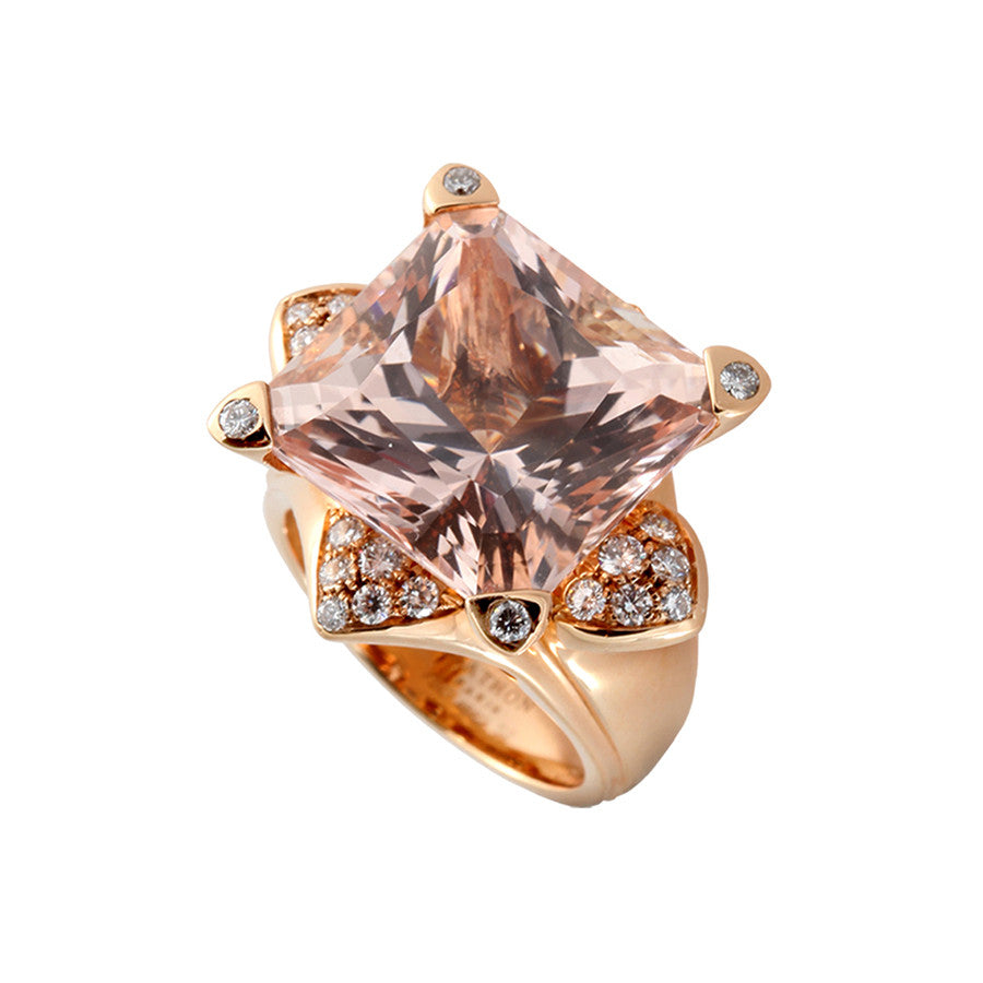 Lotus GM Red Gold, Diamond and Morganite Ring